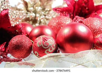 Christmas   decoration  on white background. Holiday composition. Festive background. Blank for postcards, business cards,  greeting or invitation cards.