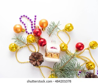 Christmas decoration on white background. Place for your text