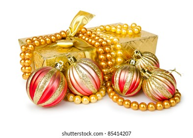 Christmas decoration on white background