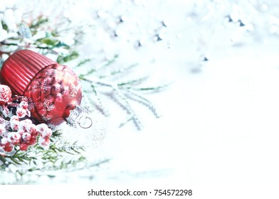 Christmas decoration on white painted wooden background (close up)