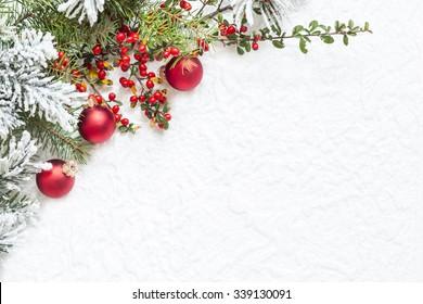Christmas decoration on white texture