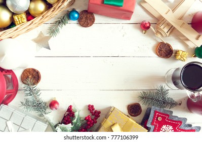 Christmas decoration on white wooden board with copy space.