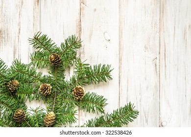 Christmas decoration on wood. Background.