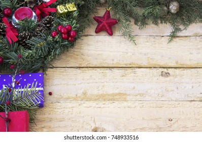 Christmas decoration on a wooden background