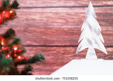 Christmas decoration on a wooden background.