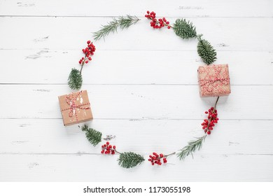 Christmas decoration on wooden board white