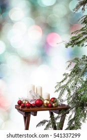 Christmas decoration on the wooden table
