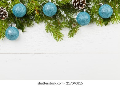 Christmas decoration on the wooden white background with snow or without