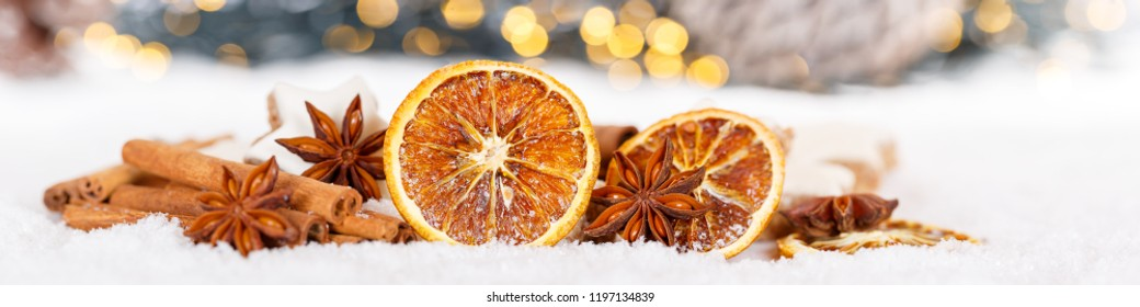 Christmas decoration orange fruit herbs baking bakery banner snow winter copyspace copy space text