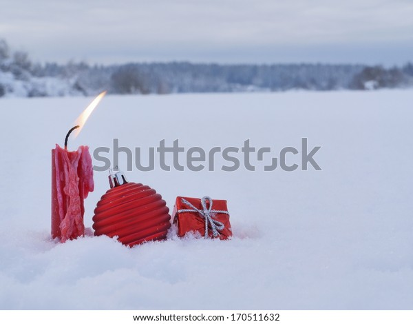 Christmas decoration outside in real snow winter