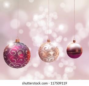Christmas decoration over blured shiny background.