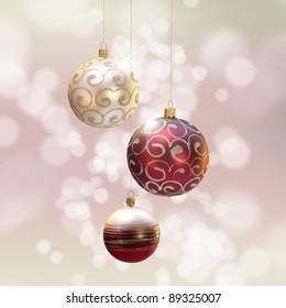 Christmas decoration over blured shiny background.?