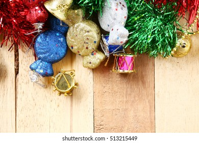 Christmas Decoration Over brown Wooden Background