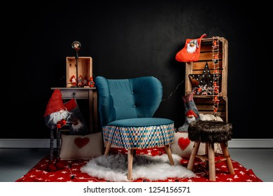 Christmas decoration in a photo studio
