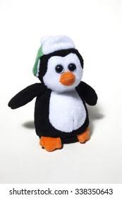 Christmas decoration, plush penguin isolated on white background