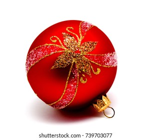 Christmas decoration red ball  isolated on a white background
