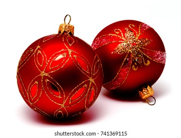 Christmas decoration red balls  isolated on a white background