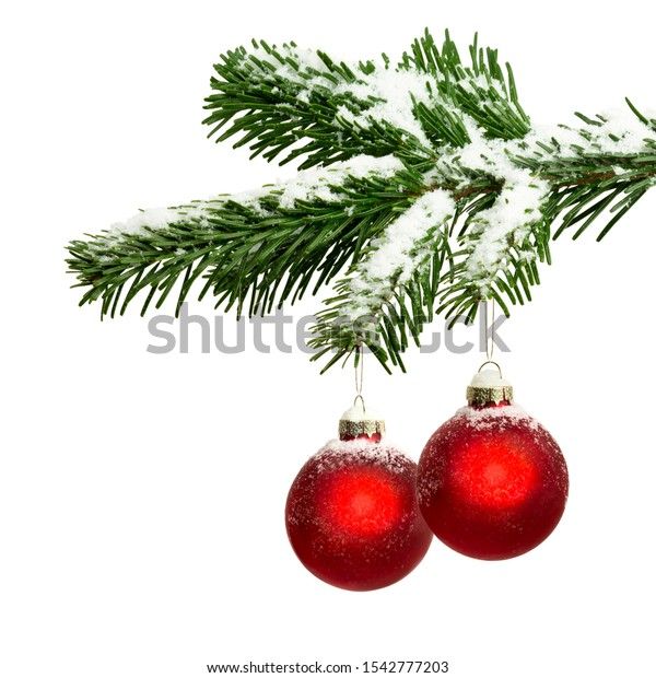 Christmas decoration with red Christmas baubles and blank space as Christmas card