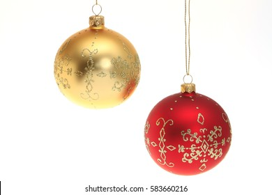 Christmas decoration, red and golden Christmas tree ball