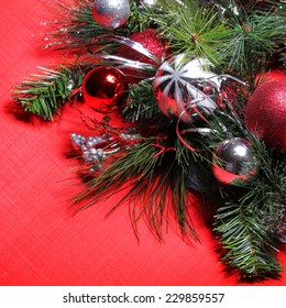 christmas decoration red and silver balls over red background - Red And Silver Christmas Decorations