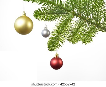 Christmas decoration with red, silver and golden ball, isolated on white background, studio shot