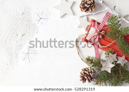 Christmas Decoration Red Christmas Sleigh Pine Stock Photo Edit Now