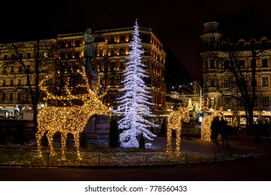 Christmas decoration of reindeer and chrsitmas tree in Helsinki, Finland