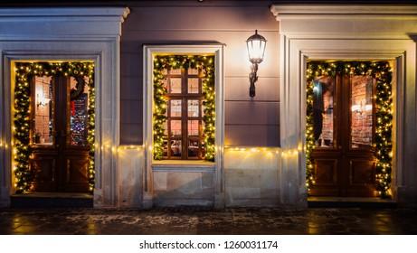 Christmas decoration of restaurant in Lviv