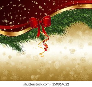 Christmas decoration with ribbon and gold texture.
