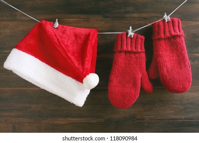 Christmas decoration with Santa cap and mittens