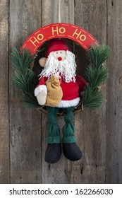 Christmas decoration, Santa Claus on wooden background