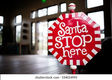 Christmas Decoration with Santa Stop Here Sign