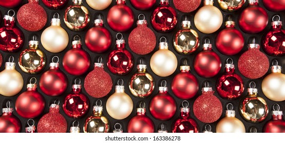 Christmas decoration set. Red and golden Xmas balls
