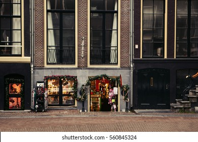 Christmas decoration shop on a street in Amsterdam in the Netherlands.