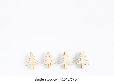 Christmas decoration small trees shape in wood on white background isolated ,Ornaments nature decor object, idea background for christmast and new year festival.