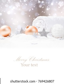 Christmas decoration in snow. Celebration and Spa concept with free space for text