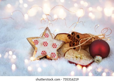 Christmas decoration in snow with with fragrant ingredients for baking
