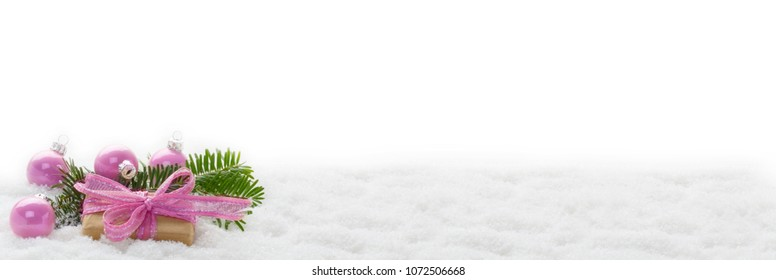 Christmas decoration in the snow, isolated