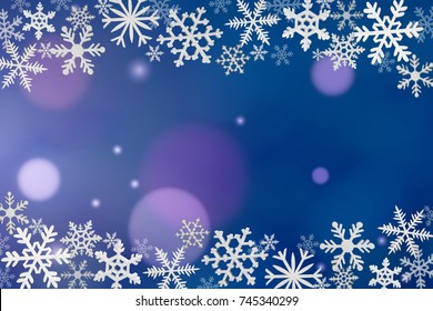 Christmas decoration with snowflakes on blue background.