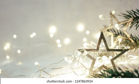 Christmas decoration in soft and blurry style for new year and Christmas concept background