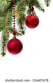 Christmas decoration with space for text on white background