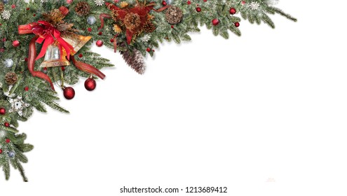 Christmas decoration star,ball white snow background,Pine cones for greeting card space for text