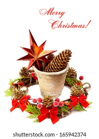 Christmas decoration (stars,pine cone, old pot and Christmas wreath) isolated on a white background