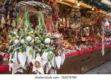 Christmas decoration street market