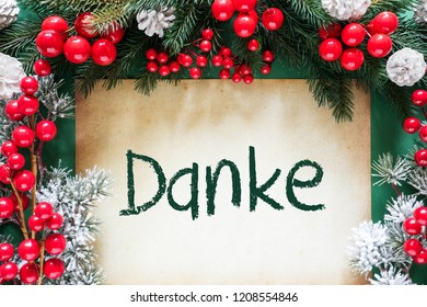 Christmas Decoration, Text Danke Means Thank You