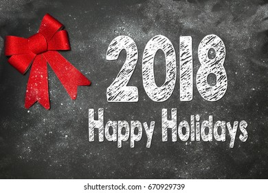 Christmas Decoration  with text HAPPY HOLIDAYS  2018 on gray background