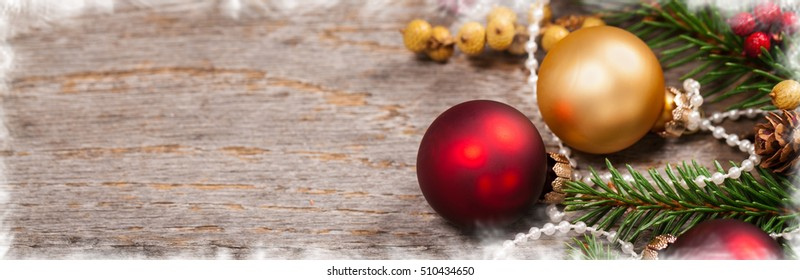Christmas Decoration Theme Background. Panoramic image. Selective focus.