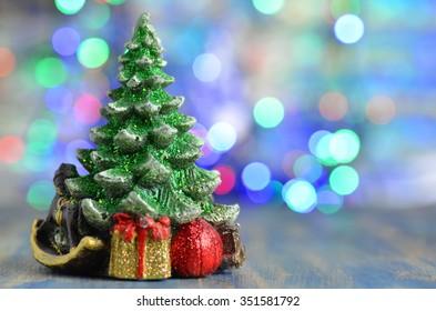christmas decoration, christmas tree on magical bokeh background