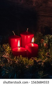 Christmas decoration with christmas two candles burning for the second Advent week, selective focus