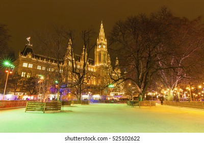 Christmas decoration in Vienna park and City Hall (Rathaus), Austria,Vienna